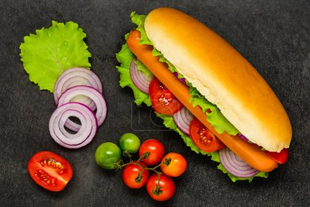 Hot Dog with Fresh Organic Vegetables