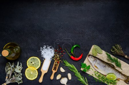 Photo for Copy Space Area with Rainbot Trout Fish and Cooking Ingredients, - Royalty Free Image