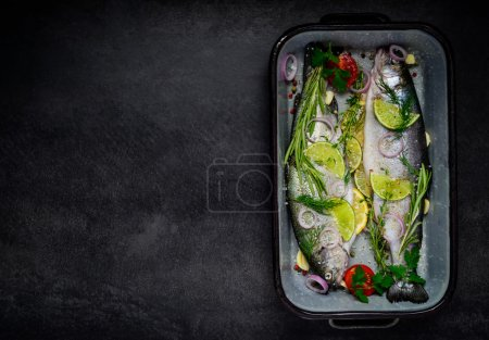 Fish Prepared for Cooking and Copy Space