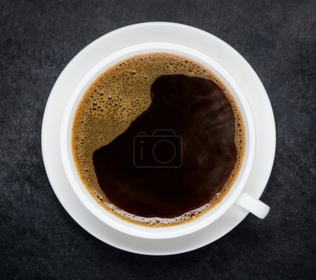 Photo for Top View of Hot Cup of Black Coffee - Royalty Free Image