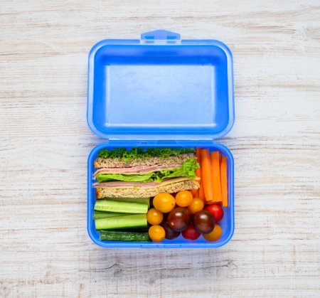 Blue Lunch Box with Vegetables and Sandwich