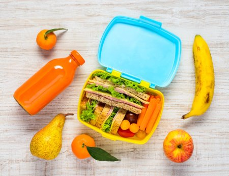 Lunch Box with Drinks, Sandwiches and Fruits