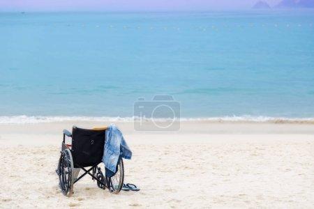 wheelchair on a beach