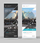 Abstract brochure cover set White black roll up design Info banner frame Ad text font Title sheet model Modern vector front page City view brand flag Blue triangle figure icon Art flyer fiber