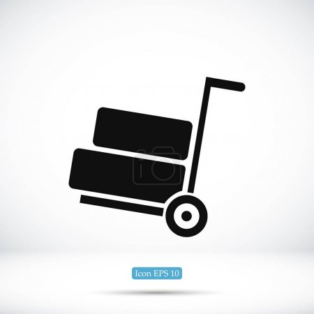 Illustration for Vector illustration of simple wheelbarrow icon, vector best flat icon, EPS - Royalty Free Image