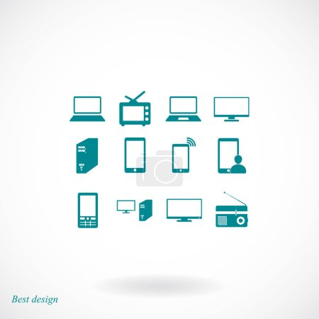 Communication device icons set
