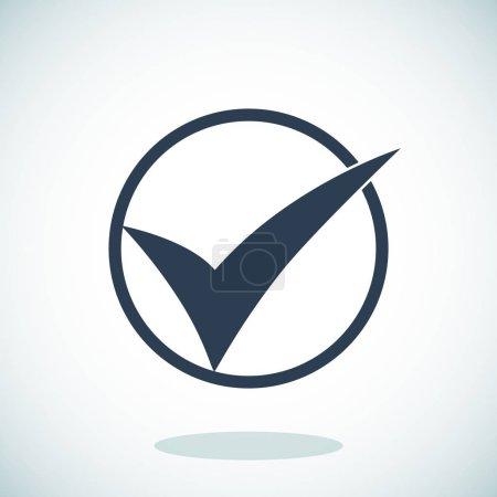 Illustration for Black ok icon on grey gradient background - Royalty Free Image
