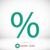 Green percent icon on grey gradient background