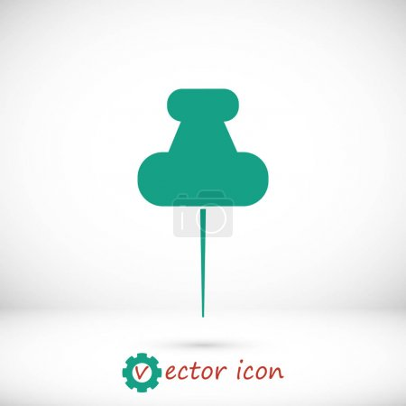 Illustration for Green pushpins icon on grey gradient background - Royalty Free Image