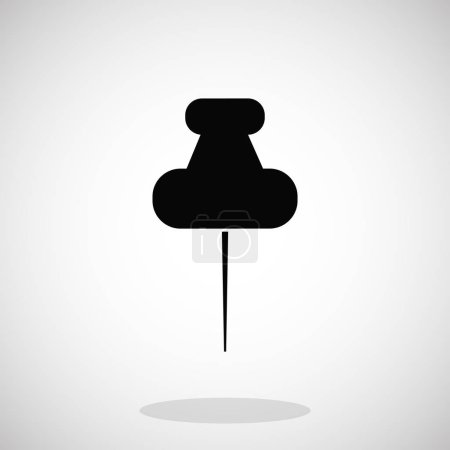 Illustration for Black pushpins icon on grey gradient background - Royalty Free Image