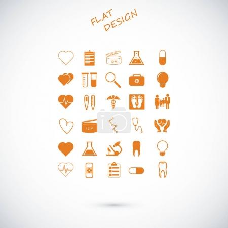 Illustration pour Illustration vectorielle de l'ensemble des icônes médicales - image libre de droit