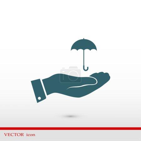 umbrella with hand icon