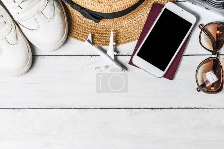Summer holiday background, Beach accessories on white wood and c