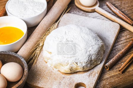 Photo for Dough preparation recipe bread, pizza or pie making ingridients, food flat lay on kitchen table background. - Royalty Free Image