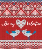 Seamless pattern on the theme of holiday Valentines Day with an image of the Norwegian and fairisle patterns Heart birds in a kiss inscription Be my Valentine on a red background Wool knitted