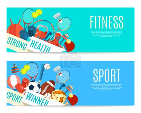 Banner of sport balls and gaming equipment. Poster with text Sport, Fitness for banner, sticker, web. Healthy lifestyle tools, elements. Vector Illustration.