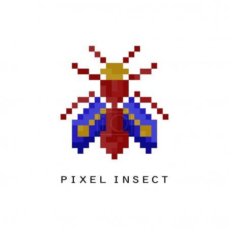 Flying pixel insect icon.