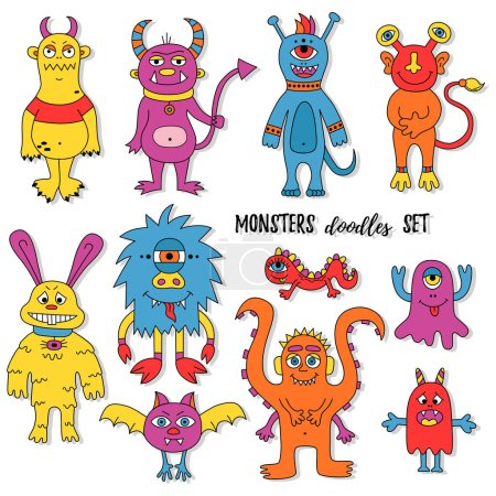 Illustration for Different monster doodles, funny colorful childish cute images. Vector illustration - Royalty Free Image