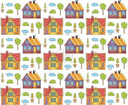 Illustration pour Illustration vectorielle design de maisons européennes modèle mignon - image libre de droit