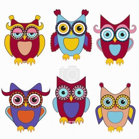 colorful owls set