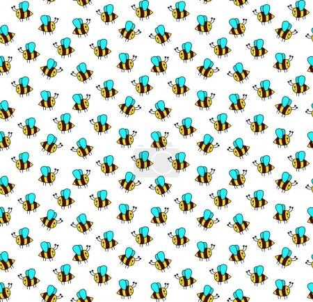 Illustration for Vector illustration design of doodle bee seamless pattern - Royalty Free Image
