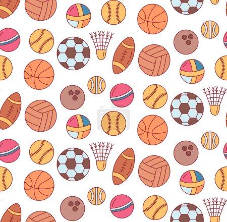 Colorful sport balls pattern