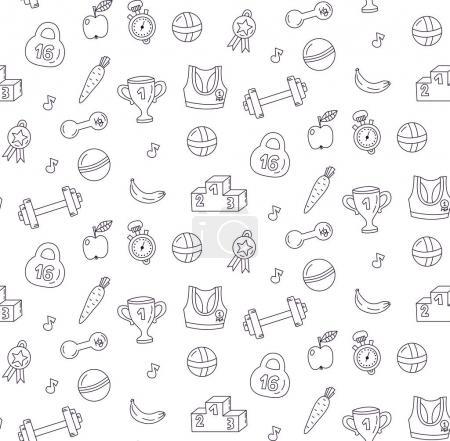Sport doodle pattern