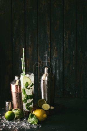 Photo pour Fait maison mojito cocktail décoré au citron, citron vert, feuilles de menthe, le zeste de citron et feuilles de citron avec de la glace pilée et deux poivrières. Concept de boisson alcoolisée. Style rustique foncé - image libre de droit