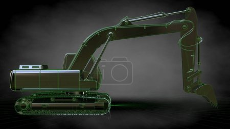 3d rendering of a reflective digger with green outlined lines as