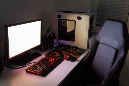 Photo for Custom gaming computer with white copy space on display - Royalty Free Image
