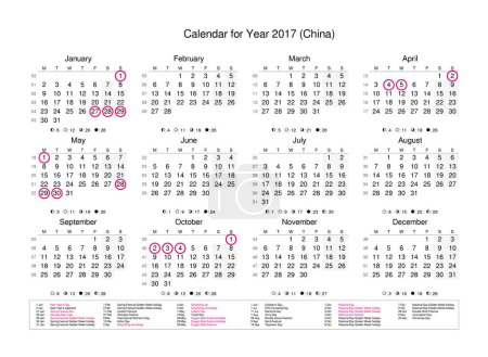 calendar with marked holidays for China