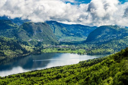 Lake Bohinj from Vogel cable car top station. Julian Alps. Slove