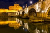 Rome, Italy. Ponte Sant Angelo, Castel Sant Angelo and Tiber Riv