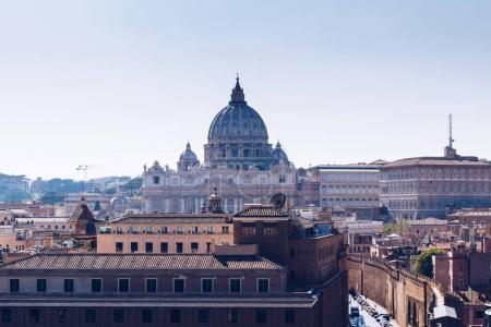 Vatican city. St Peter's Basilica. Panoramic view of Rome and St