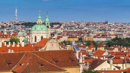 Panoramic view of Old town of Prague with tiled roofs. Prague, C