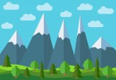 Vector panoramic mountain cartoon landscape. Natural landscape in the flat style with blue sky