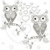 Zentangle stylized monochrome lovers owls sitting on the tree branches moon stars hand drawn hearts vector illustration