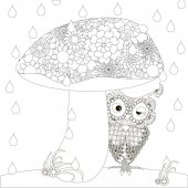 Stylized monochrome owl is hiding under mushroom from the rain doodle style anti stress stock vector illustration