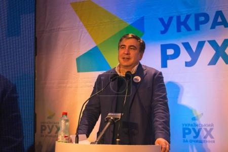 ZHYTOMYR, UKRAINE - 28 février 2016 : Mikheil Saakashvili au forum anti-corruption