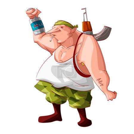 Illustration for Colorful vector illustration of a cartoon drunk rebel / separatist guerilla fighter. Wearing a bandana, white tank, cammo pants, boots. Smoking a cigarette, automatic asault rifle on his shoulder and holding a vodka bottle. - Royalty Free Image