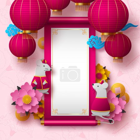 Illustration for Chinese New Year 2020. Papercut clothed rat character, flowers, clouds, hanging lanterns. Copy space on Chinese scroll. Pink floral background. Vector. - Royalty Free Image