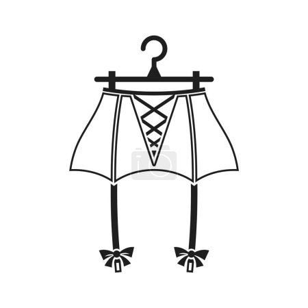 Illustration for Suspender belt on the hanger. Isolated vector illustration - Royalty Free Image