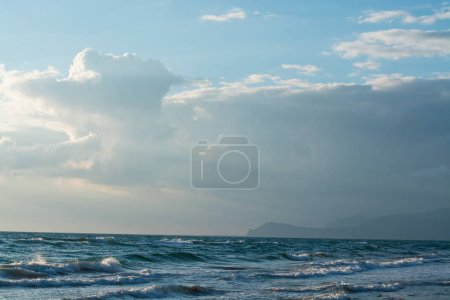 Photo for Beautiful View of seascape, sunset in the winter in Italy - Royalty Free Image