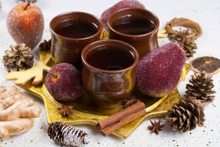 Chtistmas mulled wine with ginger, anise, sugar, cinnamon