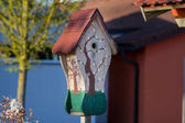 birdhouse in the spring forest natural background