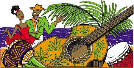 Cartoon cuban couple dancing salsa on the beach, maracas, cuban