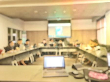 Photo for Abstract blur education meeting, business, student and people in classroom in university. teacher lecture meeting group background. - Royalty Free Image