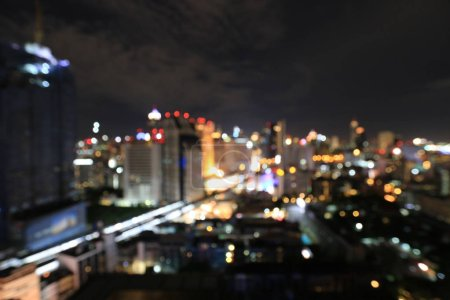 Photo for Abstract circular bokeh motion lens blur backround of city and street light or Bokeh light from car in street in night time. Bangkok Expressway Thailand. - Royalty Free Image