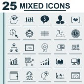 Set Of 25 Universal Icons On Square Diagram Personal Skills Desktop Computer And More Topics Vector Icon Set Including Sequence Graphics Computer Human Mind Icons