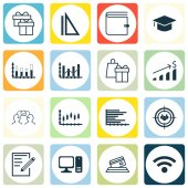 Set Of 16 Universal Editable Icons For Computer Hardware Education And Airport Topics Includes Icons Such As Focus Group Segmented Bar Graph Measurement And More